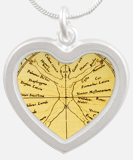 Astrological anatomy Silver Heart Necklace
