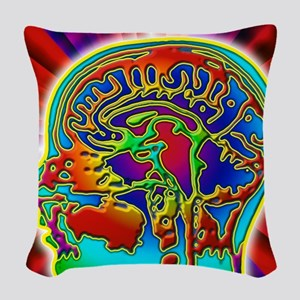 Abstract coloured MRI scan of  Woven Throw Pillow