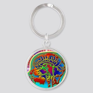 Abstract coloured MRI scan of the h Round Keychain