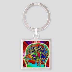 Abstract coloured MRI scan of the  Square Keychain