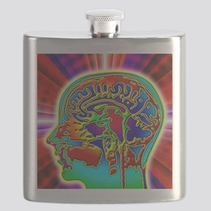 Abstract coloured MRI scan of the human brai Flask