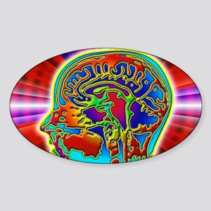 Abstract coloured MRI scan of the h Sticker (Oval)