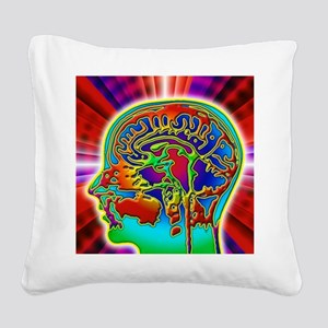 Abstract coloured MRI scan of Square Canvas Pillow