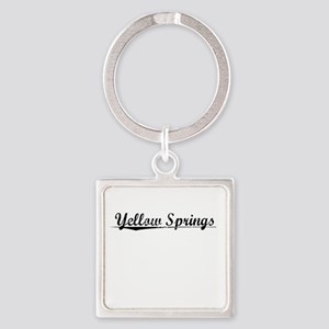 Yellow Springs, Vintage Square Keychain