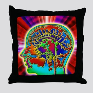 Abstract coloured MRI scan of the hum Throw Pillow
