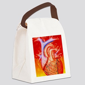 Artwork of a healthy human heart Canvas Lunch Bag