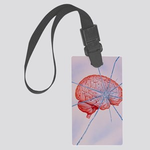 Artwork of brain with shattered  Large Luggage Tag