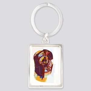 Abstract artwork of a person's f Portrait Keychain