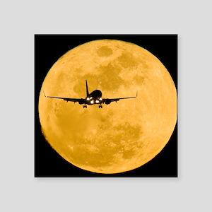 "Aeroplane silhouetted again Square Sticker 3"" x 3"""