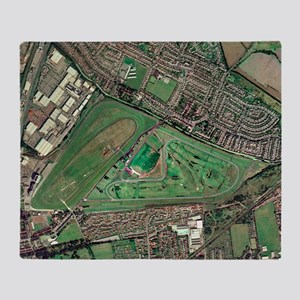 Aintree horse racing track, aerial i Throw Blanket