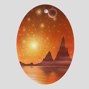 Alien landscape, artwork Oval Ornament