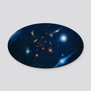 Artwork of various galaxies showin Oval Car Magnet