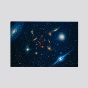 Artwork of various galaxies showi Rectangle Magnet