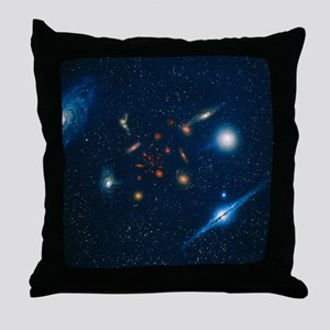 Artwork of various galaxies showing r Throw Pillow