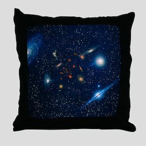 Artwork of various galaxies showing r Throw Pillow