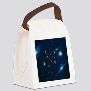 Artwork of various galaxies showi Canvas Lunch Bag