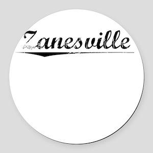 Zanesville, Vintage Round Car Magnet