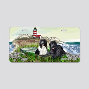 Two Newfs Seascape Aluminum License Plate
