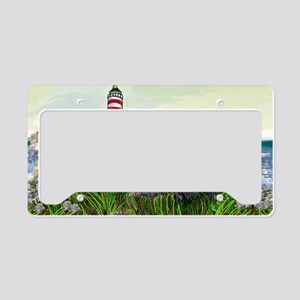 Two Newfs Seascape License Plate Holder