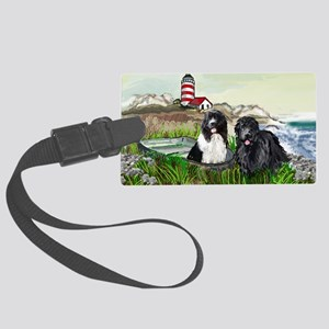 Two Newfs Seascape Large Luggage Tag