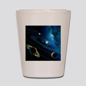 Artwork of the solar system Shot Glass