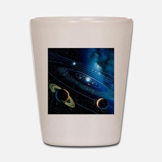 Artwork of the solar system Shot Glass