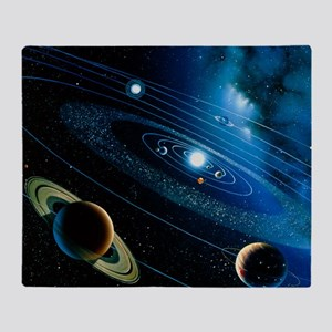 Artwork of the solar system Throw Blanket
