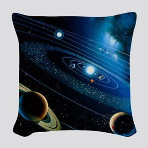 Artwork of the solar system Woven Throw Pillow
