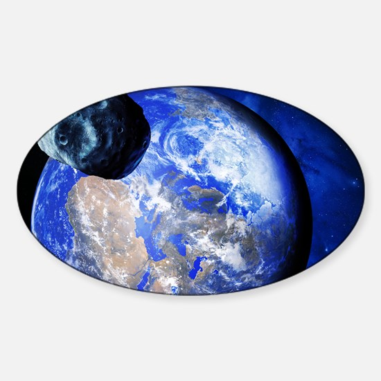 Asteroid approaching Earth Sticker (Oval)