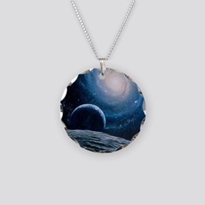 Artwork of a spiral galaxy Necklace Circle Charm