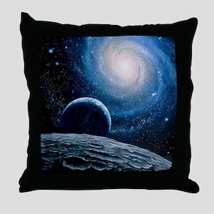 Artwork of a spiral galaxy Throw Pillow
