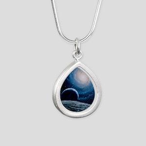 Artwork of a spiral gala Silver Teardrop Necklace