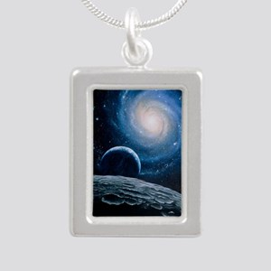 Artwork of a spiral gala Silver Portrait Necklace