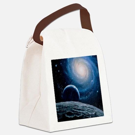 Artwork of a spiral galaxy Canvas Lunch Bag