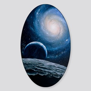 Artwork of a spiral galaxy Sticker (Oval)