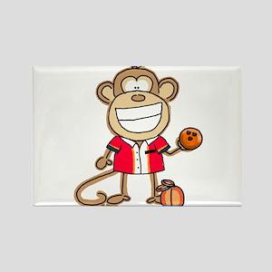 Bowling Monkey Rectangle Magnet