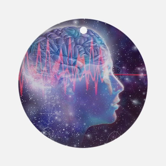 Artwork of human head with brain Round Ornament
