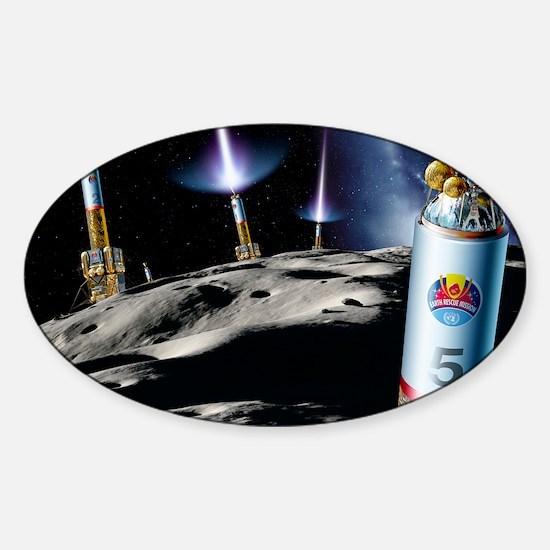 Asteroid deflection, rocket thrust Sticker (Oval)