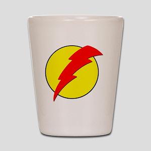A Red Lightning Bolt Shot Glass