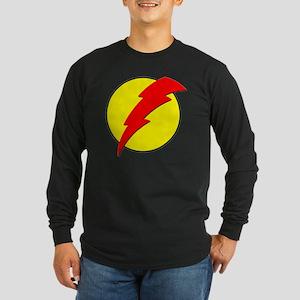 A Red Lightning Bolt Long Sleeve Dark T-Shirt