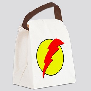 A Red Lightning Bolt Canvas Lunch Bag