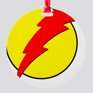 A Red Lightning Bolt Round Ornament