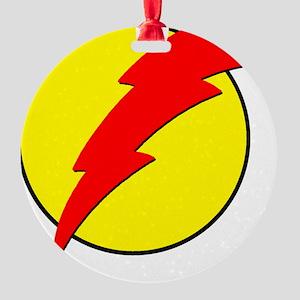 A Red Lightning Bolt Round Ornament