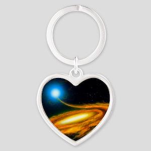 Artwork: binary star system contain Heart Keychain