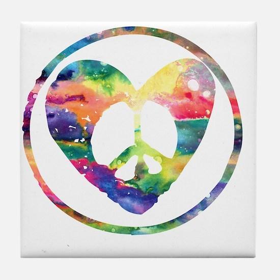 Peace Heart Rainbow C Tile Coaster