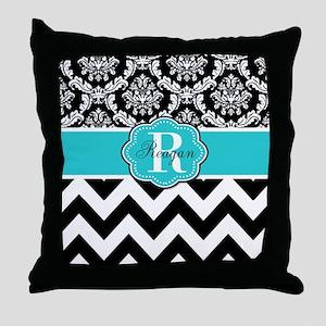 Blue Damask Chevron Personalized Throw Pillow
