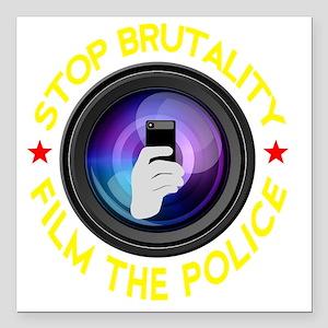 """Film The Police Black Square Car Magnet 3"""" x 3"""""""
