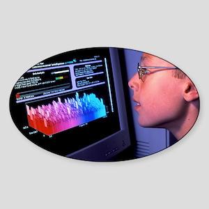 Boy at computer displaying SETI@hom Sticker (Oval)