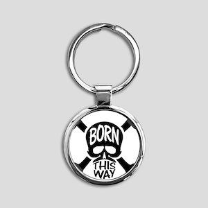 Born This Way Skull & Crossbones Round Keychain