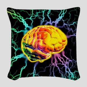 Brain activity Woven Throw Pillow